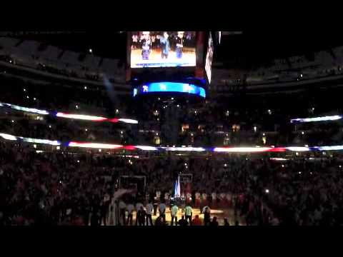 Joey sings the national anthem at the Bulls game April 5 2013.