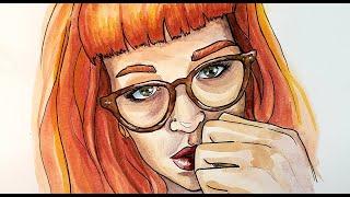 Painting Practice - watercolor self portrait timelapse