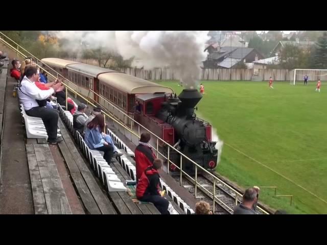 Train on the football field