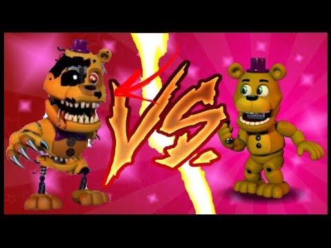 Напряженная битва! N.Fredbear Против Fredbear (FNAF WORLD THE RETURN TO NIGHTMARE'S
