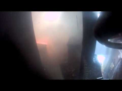 Firefighter helmet cam interior attack.