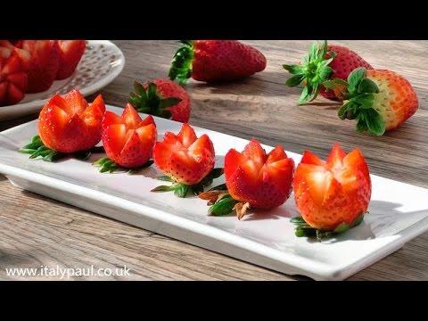 Art In Strawberry Flowers | Strawberry Art Red Flower | Fruit Carving Strawberries Garnishes