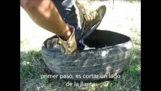 Como voltear una llanta una sola persona/ Turning a tire inside out