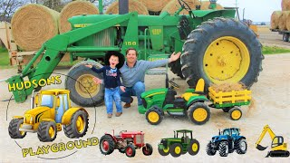 Tractors for kids Playing with real tractors and we get stuck in the mud!