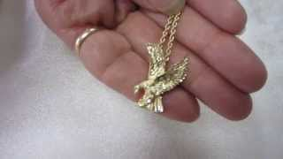 14Kt Yellow Gold Screaming Eagle Necklace with 14K Gold Rope Chain