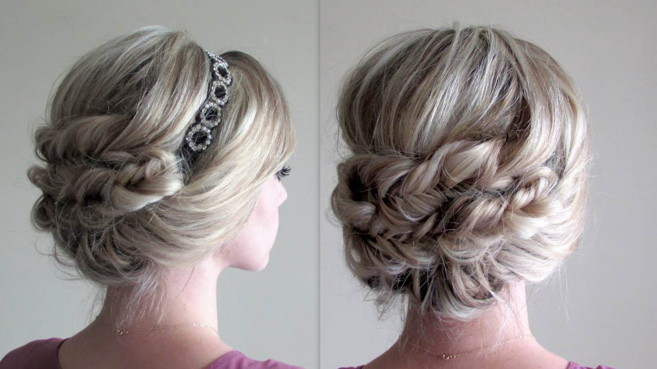 how to headband updo and fishtail braids youtube