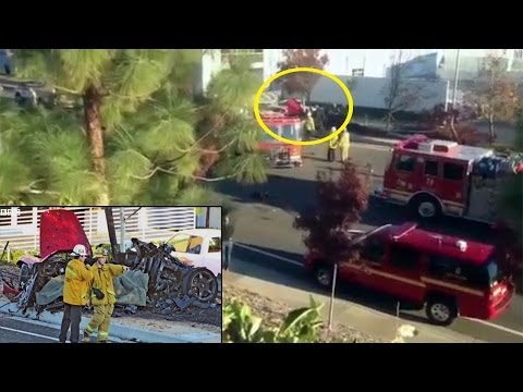 Paul Walker Dies car crash - Paul Porsche Car on fire caught on camera [RAW FOOTAGE] 2013