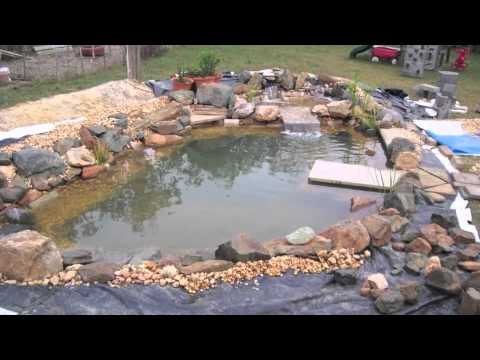 Diy koi pond using recycled billboard tarp how to save for Tarpaulin fish pond