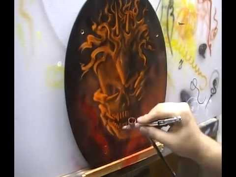 Atelier Meijer - The Flaming Skull Toiletseat airbrush Video