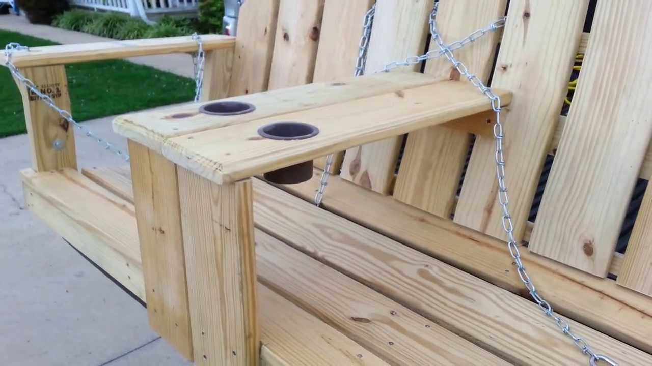 Porch swing with arm rest cup holder build. - YouTube