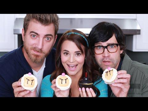 BOMBERMAN CUPCAKES - ft. Rhett and Link! - NERDY NUMMIES