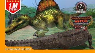 Sarcosuchus vs Spinosaurus : Dinosaurs Battle Special