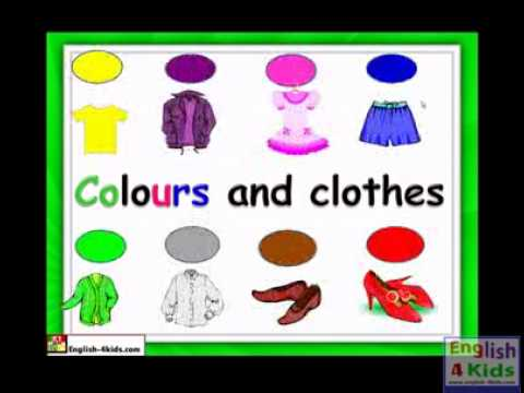 English For Kids Esl Kids Lessons   Clothes & Colours video