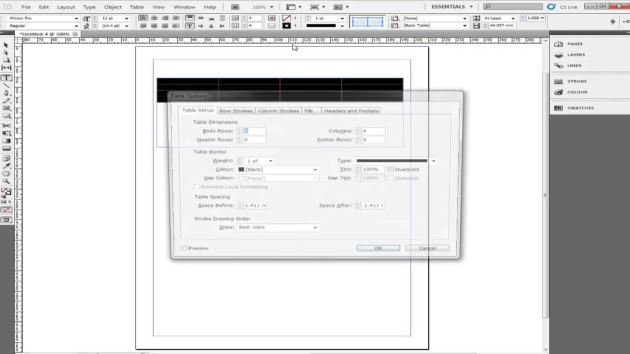 how to create a table in indesign cs4