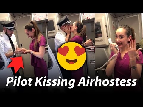 Pilot Proposed To Air Hostess On Flight | The Most Romantic Proposal Ever | Hot Kissing