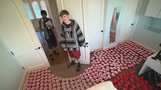 WATER FILLED CUPS PRANK ON ROOMMATE