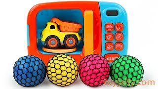 Learn Colors with Squishy Mesh Balls and Microwave Car Toys Kinder Surprise Eggs Baby Toys