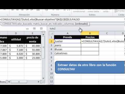Buscar Objetivo - ConsultaV - BuscarV - Extraer datos de otro libro - Consolidar datos EXCEL