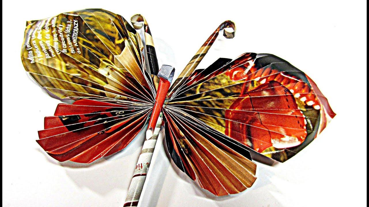 Como hacer mariposas de papel paper butterflies youtube - Como hacer mariposas de papel ...