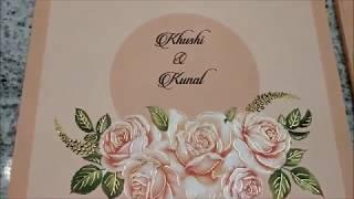 Gorgeous Peach Color With Flower Design Theme Wedding Invitation Card - KPR10900