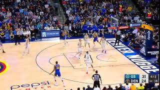 Steph Curry pulls up and sinks the deep 3 with 20 seconds left on the shot clock