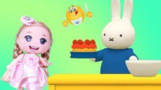 Trò chơi THỎ CON GIÚP MẸ TRỒNG HOA LÀM BÁNH Cùng Bé Na Búp Bê Baby Mina