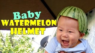 Baby watermelon helmet