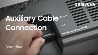 How to connect your Soundbar to an external device using an Aux cable | Samsung US