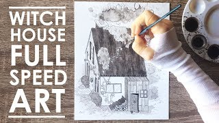 DRAWING A WITCH HOUSE - (w/ Normal Voice Over!)