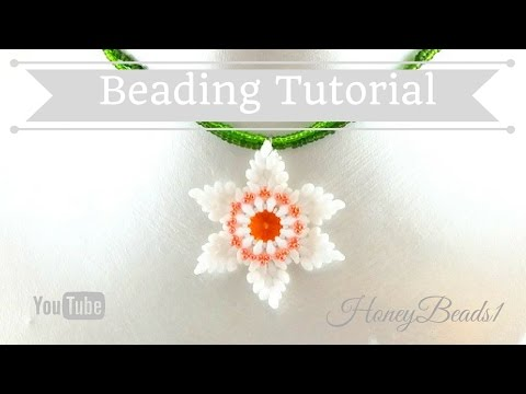 Super duo (Daffodil) Flower Pendant Beading Tutorial by HoneyBeads