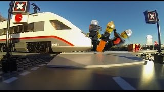 How many people can stop a Lego train?