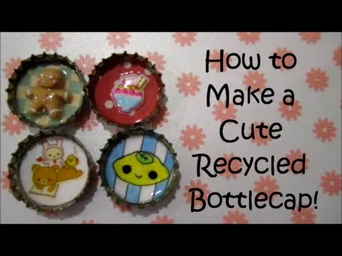 How to make a cute recycled bottlecap youtube for What can i make with bottle caps