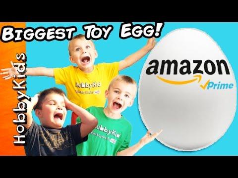 World's Biggest AMAZON TOYS Surprise Egg! Batman + Bubble Blaster Family Fun HobbyKidsTV