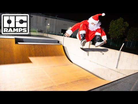 Skateboarding Santa comes to shred