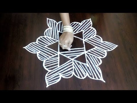 Latest Single Star Kolam Design 5 x 3 ||  Star Design With Easy Lines || Fashion World