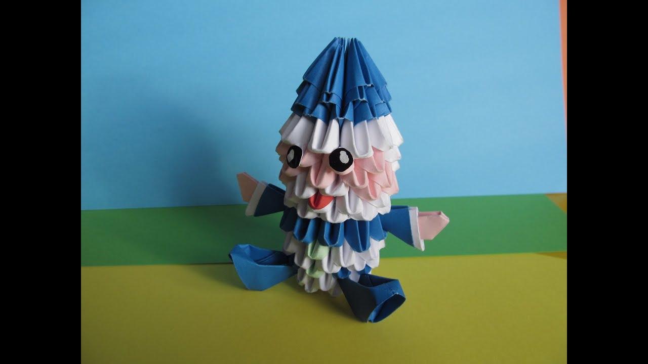Дед мороз из модулей оригами схема подробная