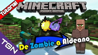 Minecraft Pocket Edition 0.13.1-Como Transformar Zombie a Aldeano Español