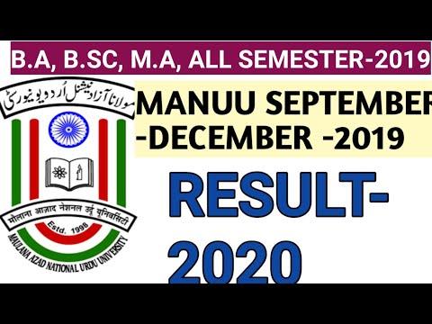MANUU DISTANCE EXAM 2019 RESULT  MANUU DDE DECEMBER 2019 RESULT  MANUU B.A, B,SC M.A, 2019 RESULT