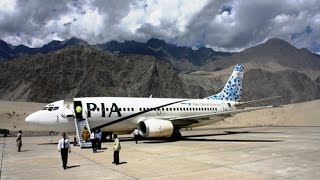 PIA flight landing at Skardu airport Pakistan