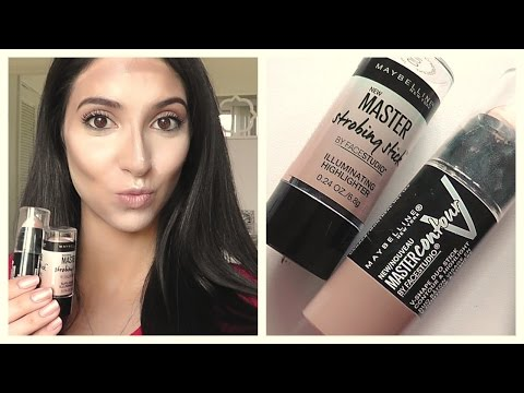 NEW MAYBELLINE MASTER CONTOUR V-STICK AND STROBING STICK REVIEW and DEMO