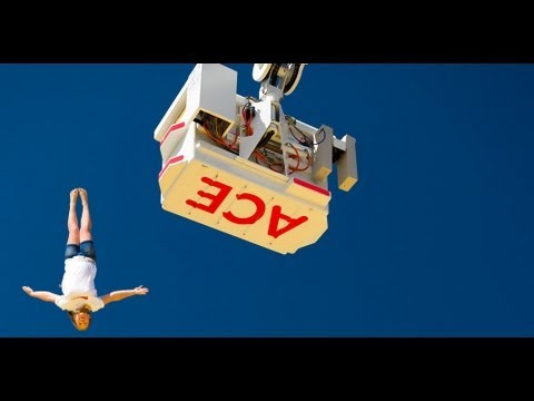 Extreme bagjump freedrop stunts tricks diving onto a air bag from 30m high Awolnation Sail song