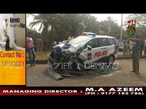 POLICE KI CRYSTA CAR SHAMSHABAD AA RAHI THI KI EK AUTO TROLLY NE TAKKAR DE DI