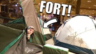 SECRET TENT FORT IN BASS PRO SHOPS! *WITH SPY CAMERA*