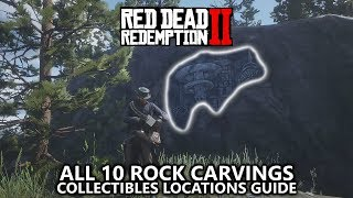 Red Dead Redemption 2 - All 10 Rock Carvings Locations - Geology for Beginners - Required for 100%