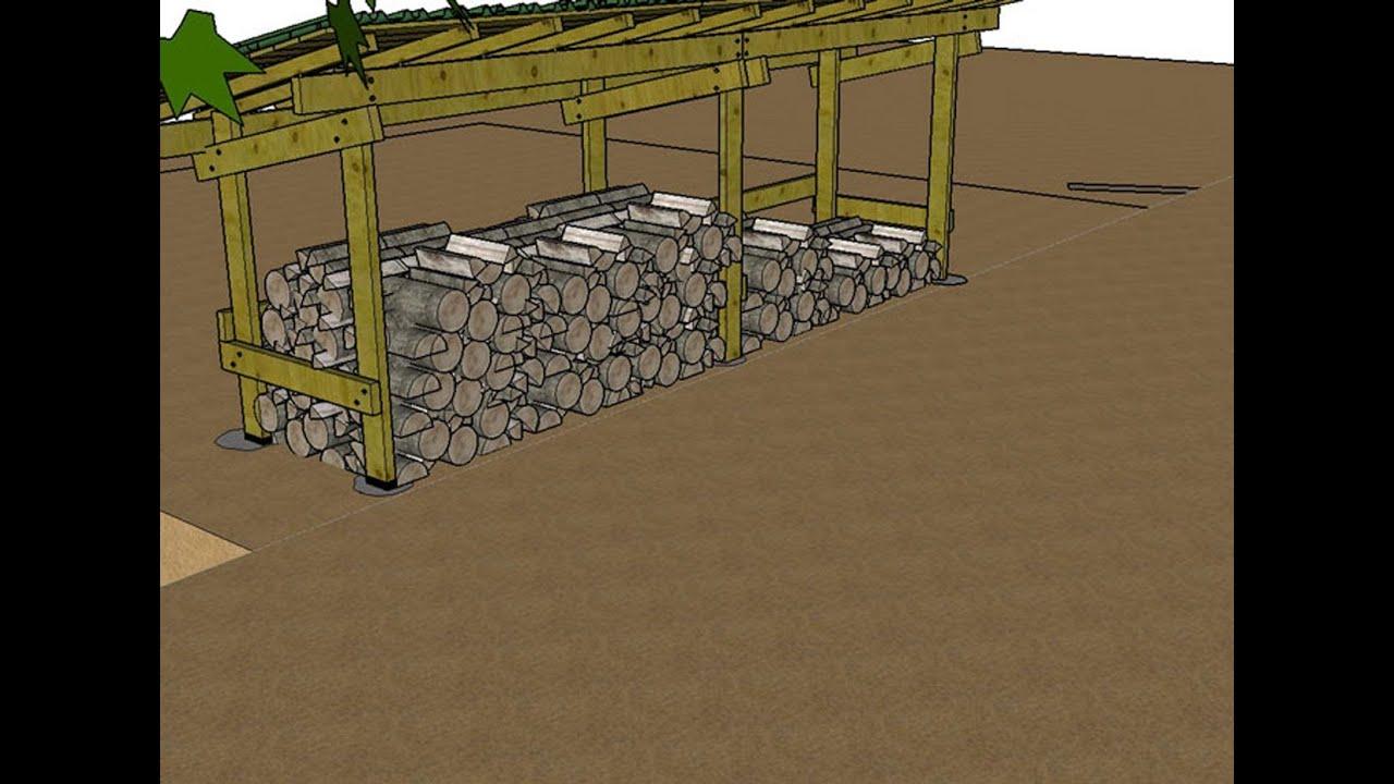 Construire un abri pour le bois de chauffage explications en images 3d youtube - Construire un auvent de porte ...