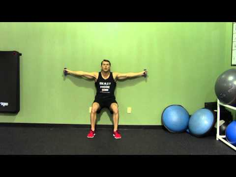 Iron Cross + Wall Sit - HASfit Squat Exercise Demonstration - Isometric Exercise - Isometric Workout