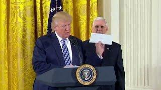 President Donald Trump Swears In White House Senior Staff. Jan. 22, 2017.