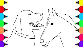 Learn Colors for Kids with Animals Coloring Pages Dog and Horse - Coloring Videos for Kids