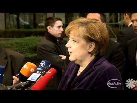 Germany's Merkel EU Council Summit arrival (German)