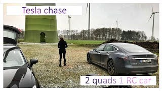Tesla chase 2 drones 1 RC car | FPV